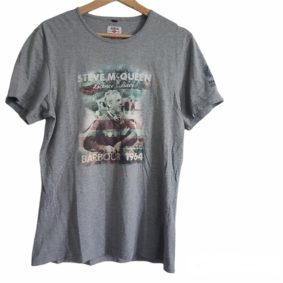 Officoal Barbour International Steve McQueen Licence to Race T Shirt Size M